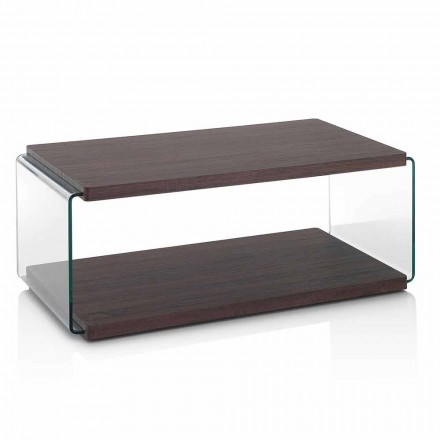 Mesa de centro en nogal Mdf y cristal transparente en 2 tamaños - Mindie
