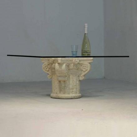Mesita de piedra de Vicenza y cristal esculpida a mano Balos