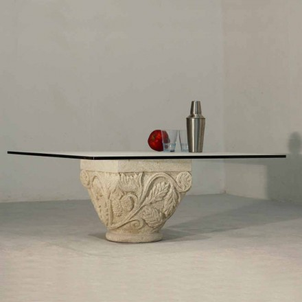 Mesita de piedra Vicenza y cristal esculpida a mano Mytros