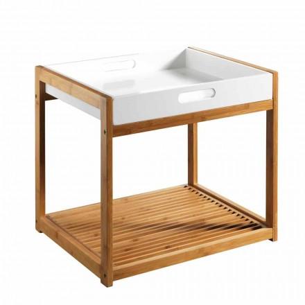 Mesa de centro moderna de madera de bambú con bandeja de MDF blanco - Volly