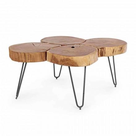 Mesa de centro moderna Homemotion en madera y acero pintado - Severo