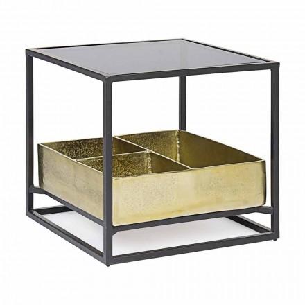 Mesa de centro cuadrada con tapa de cristal Homemotion - Sigismondo
