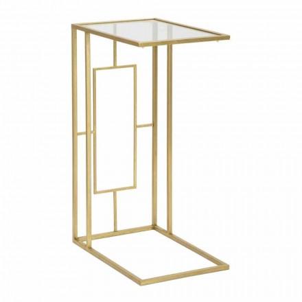 Mesa de centro rectangular en hierro y vidrio moderno - Albertino