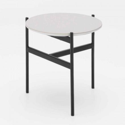 Mesa de centro redonda de diseño moderno de cerámica y metal - Gaduci