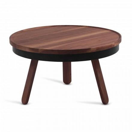 Mesa de centro redonda de diseño en madera maciza y metal - Salerno