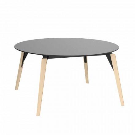 Mesa de centro redonda de madera y tablero de Hpl en 2 tamaños - Faz Wood by Vondom