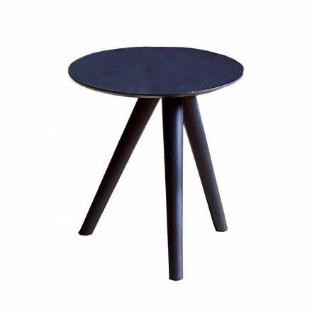 Mesa de centro redonda de madera lacada en negro gris Made in Italy - Stuttgart