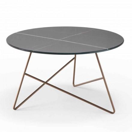 Mesa de centro redonda de metal con tapa de cristal efecto mármol - Magali