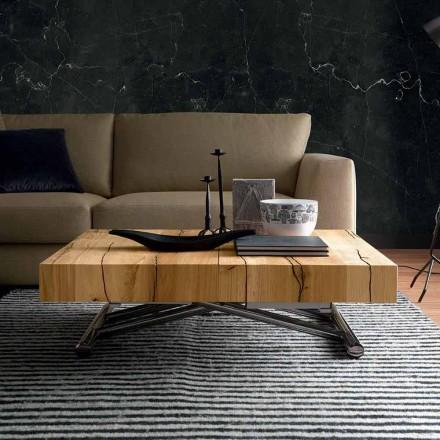 Mesa de centro transformadora en madera maciza Made in Italy - Trabucco
