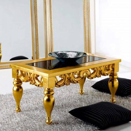 Mesa de café de diseño clásico en madera Lof, acabado en oro