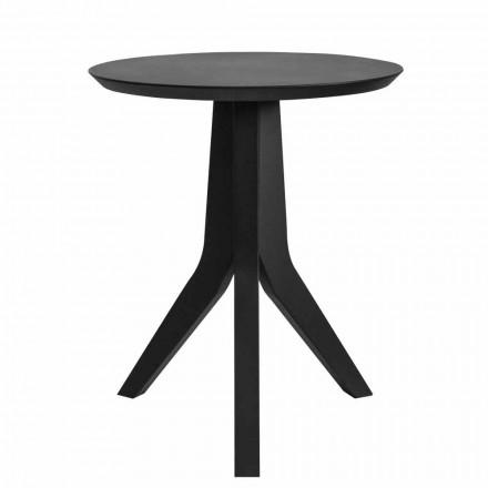 Mesa de centro de madera lacada en negro de diseño redondo moderno - Sperone