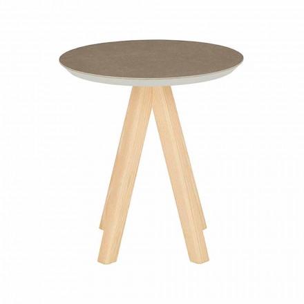 Mesa de centro redonda para salón en madera de fresno y tapa de cerámica - Amerigo