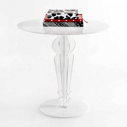 Mesita de diseño clásico en cristal acrílico H 64 cm, Cles
