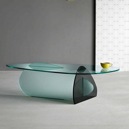 Mesa de centro de diseño en vidrio transparente, ahumado y grabado hecho en Italia - Tac Tac