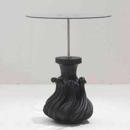 Mesa de centro de madera maciza negra arenada / arenada, diámetro 60, Margo