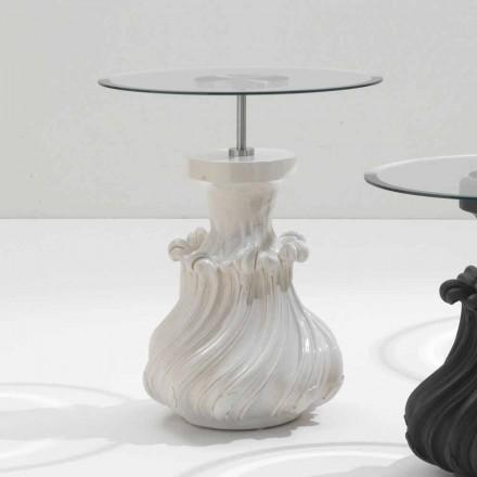Mesa de centro en madera maciza y cristal blanco, diámetro 60cm, Margo
