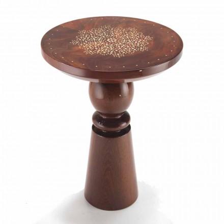 Mesa de centro de diseño con tapa de bronce, diámetro 45 cm, Sanni