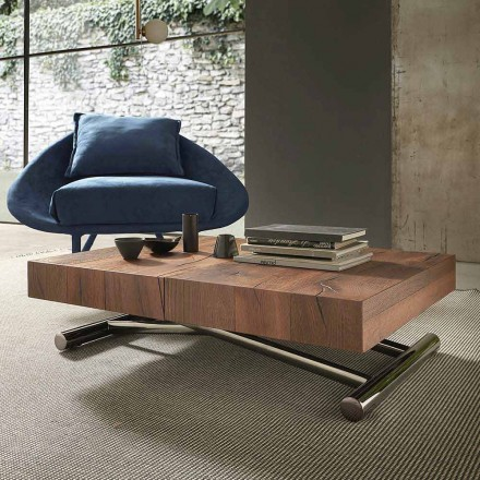 Mesa de centro moderna transformable en madera y metal, Made in Italy - Spirit