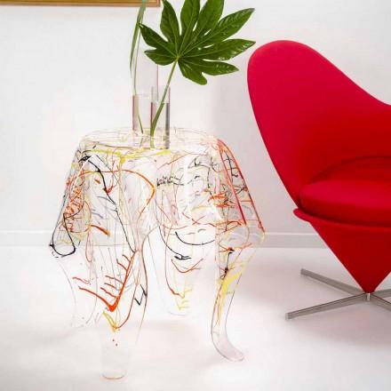 Moderna mesa de centro de plexiglás multicolor hecha en Italia, Otto