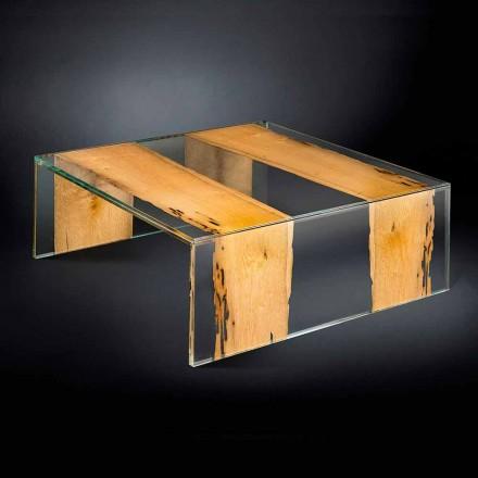Mesita de cristal y madera de Briccola Veneciana