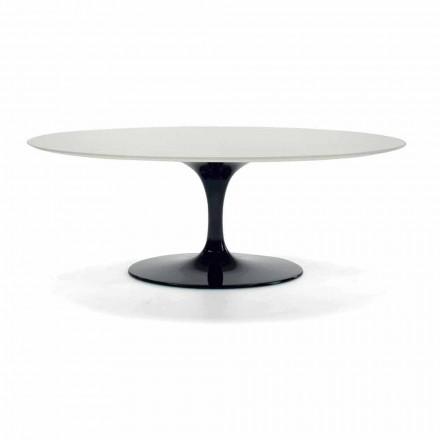Mesa de centro ovalada en laminado y aluminio Made in Italy - Dollars