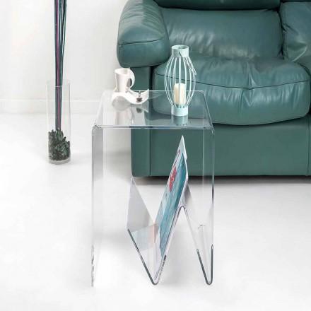 Mesita / revistero de diseño moderno, de plexiglás, Cavour