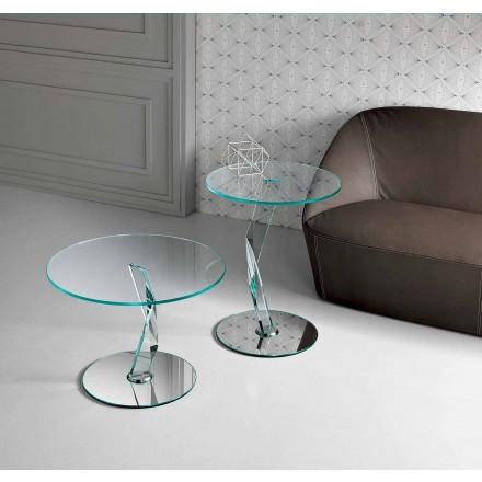 Mesita redonda de diseño en vidrio extra claro hecha en Italia - Akka