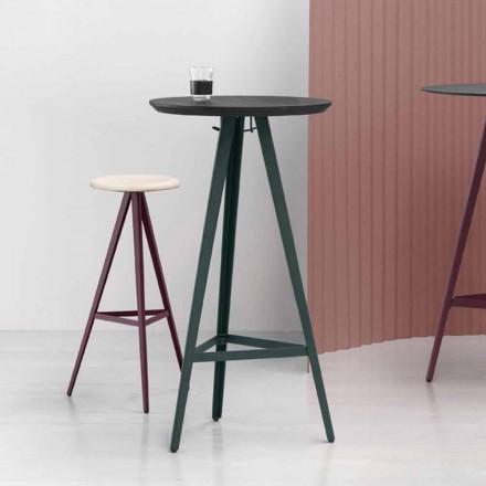 Mesa de centro redonda de fresno macizo con base de metal Made in Italy - Ulma