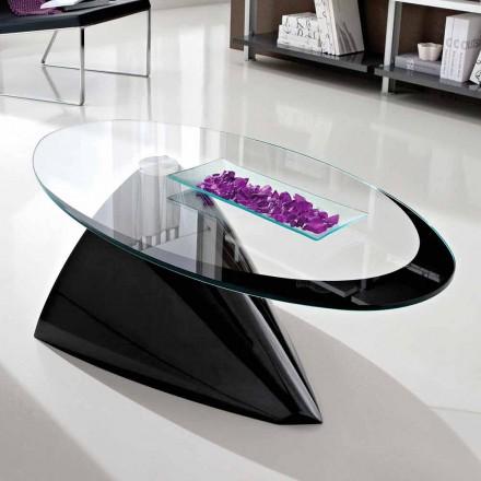 Mesa de centro con tapa de cristal con serigrafía Made in Italy - Campari