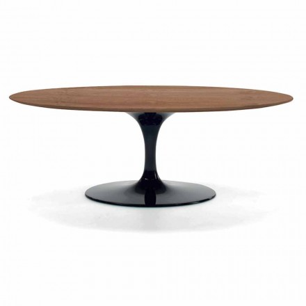Mesa de centro con tapa de madera chapada ovalada Made in Italy - Dollars