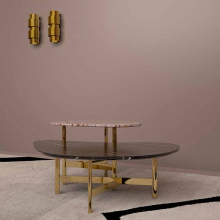 Mesa de centro de lujo en mármol negro o marrón bosque Made in Italy - Manolo
