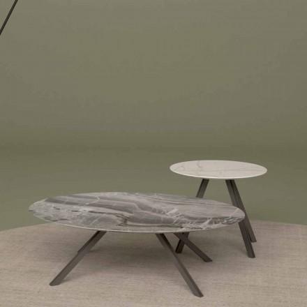 Mesa lounge en mármol Orobico o Calacatta y metal Made in Italy - Sirena