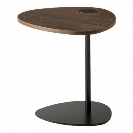 Mesa de centro para salón en metal y tapa de madera, diseño de lujo - Yassine