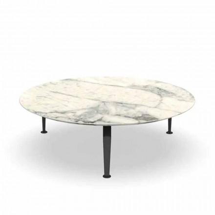 Mesa de centro redonda para jardín en gres y aluminio Calacatta - Cruise by Alu Talenti
