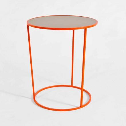 Mesa de centro redonda moderna en metal coloreado Made in Italy - Raphael