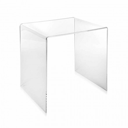 Mesa de centro transparente moderna del diseño 40x40cm Terry pequeño, hecho en Italia