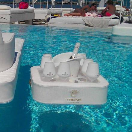 Mesita bandeja flotante de ecopiel náutica y plexiglás Trona
