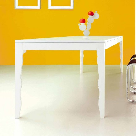 Mesa extensible de madera lacada en blanco hasta 2,5 m con patas torneadas - Concept