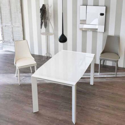 Mesa extensible de diseño con tablero de cristal Zeno