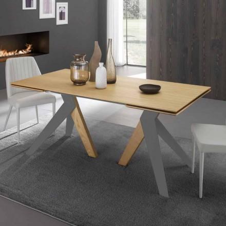 Mesa extensible de diseño con encimera de roble Daryl, hecha en Italia