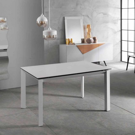 Mesa extensible moderna hasta 220 cm, encimera de cerámica blanca, Nosate