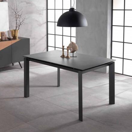 Mesa de diseño extensible con tapa de cerámica y mdf, Nosate