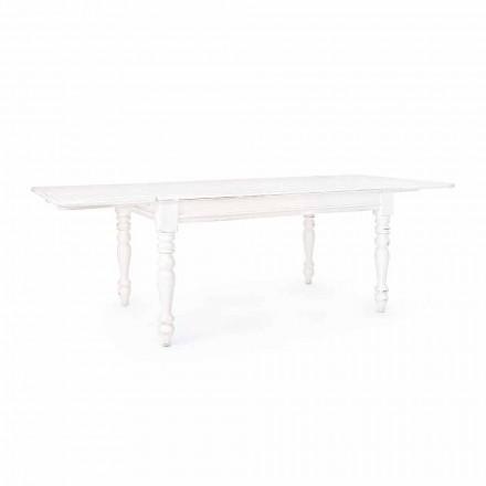 Mesa extensible clásica hasta 240 cm en madera de mango Homemotion - Tongo