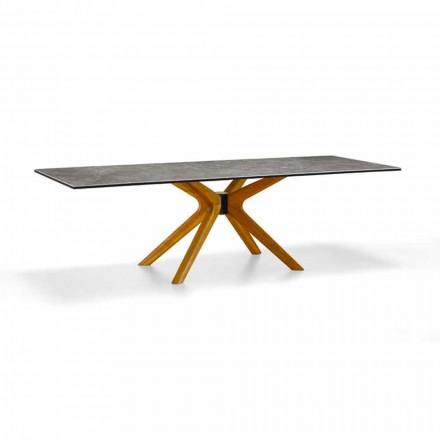 Mesa extensible hasta 260 cm en gres y madera, lujo Made in Italy - Malita