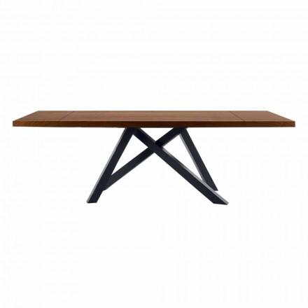 Mesa extensible hasta 300 cm en madera y acero Made in Italy - Settimmio