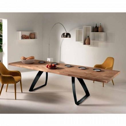 Mesa extensible de madera de roble y metal modelo Travis