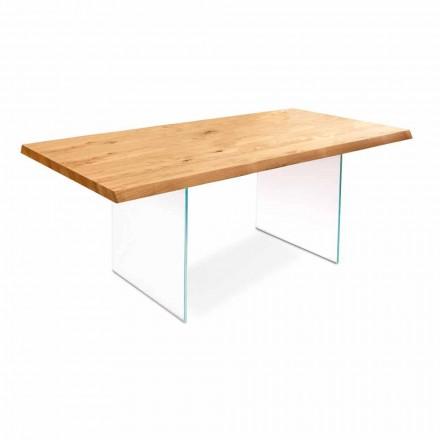 Mesa extensible en chapa de roble con patas de vidrio Nico