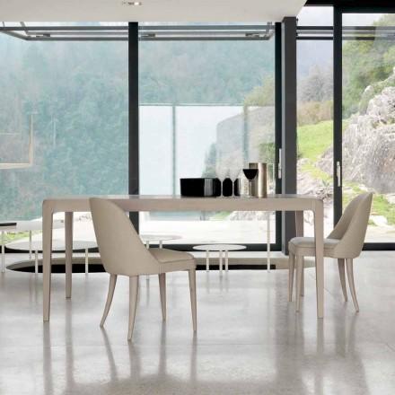Mesa extensible en nogal gris natural, diseño moderno Matis