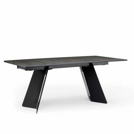 Mesa extensible moderna con tapa de gres hecha en Italia, Erve