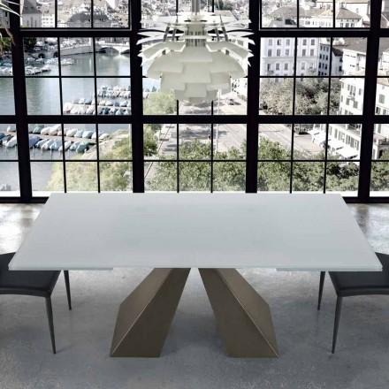 Mesa Extensible Moderna en Vidrio y Acero 14 Asientos Hecho en Italia - Dalmata